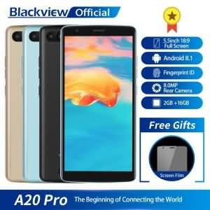 Blackview A20 Pro Smartphone 2GB+16GB Quad Core Android 8.1 5.5inch 18:9 Full Screen Fingerprint