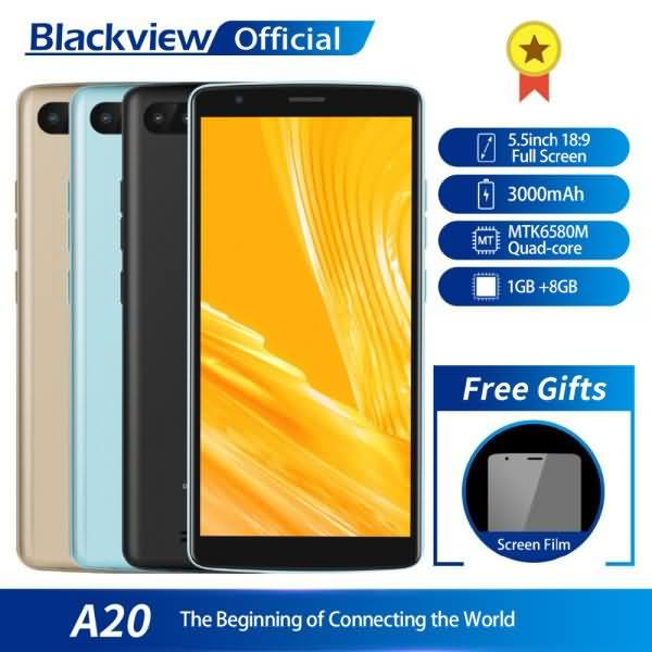 Blackview A20 Smartphone 1GB RAM 8GB ROM MTK6580M Quad Core Android GO 5.5inch 18:9 Screen