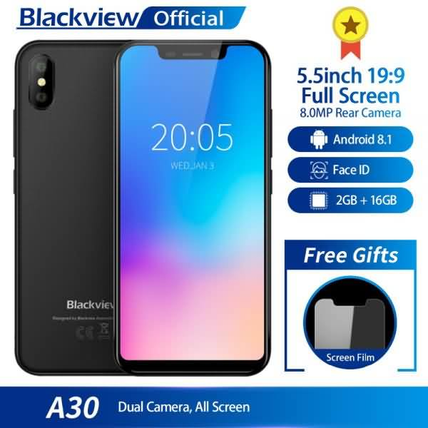 Blackview A30 Smartphone 5.5inch 19:9 Full Screen Quad Core 2GB+16GB Android 8.1 Dual SIM 3G Face ID