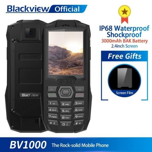 Blackview BV1000 IP68 Waterproof Shockproof Rugged Phone 2.4inch 3000mAh Dual SIM Mini Flashlight