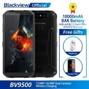 "Blackview BV9500 4GB+64GB 5.7"" FHD 18:9 MT6763T Octa Core Waterproof 16.0MP 10000mAh Battery Wireless Charging"