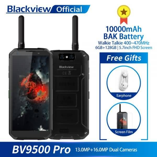 "Blackview BV9500 Pro Waterproof Walkie Talkie 6GB RAM 128GB ROM Octa Core 5.7"" FHD 18:9 10000mAh Battery"