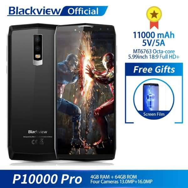"""Blackview P10000 Pro 5.99"""" FHD + Full Screen 4GB+64GB MT6763 Octa Core 11000mAh BAK Battery 5V/5A 16.0MP"""